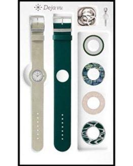 Deja vu Armbanduhr steingrau und grün