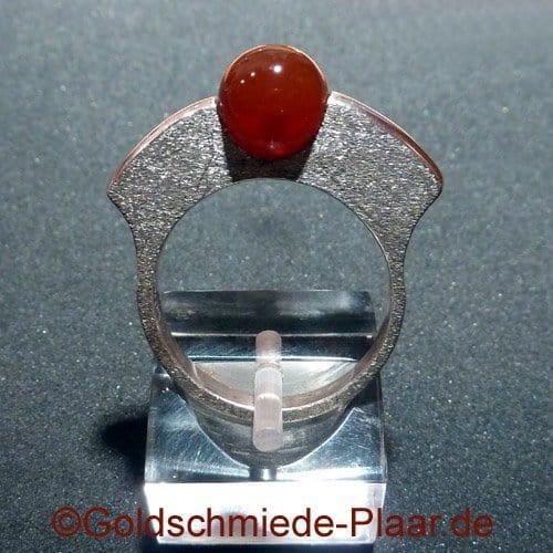 Silber-Ring mit Karneol Kugel
