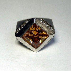 Silber-Ring mit synthehtischem Citrin