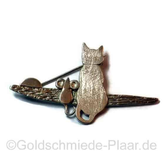 Brosche Katze mit Maus Silber