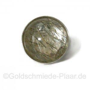 Silberring mit Rutilquarz, Ansicht von oben