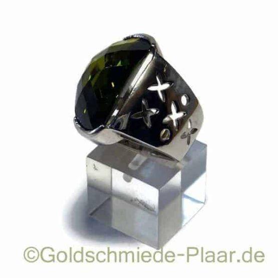 Silber-Ring mit grünem synthetischem Stein