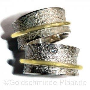 Rollring aus Silber und Gelbgold