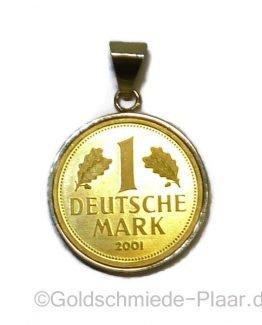 Münzfassung für 1 D-Mark aus 585/- Gold