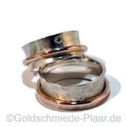 Rollringe Silber und Rotgold mit Brillant 0,10ct