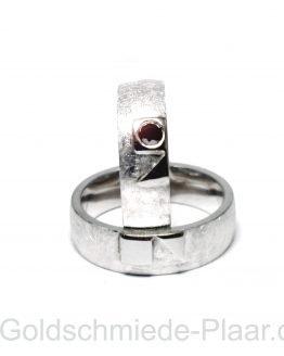 Trauringe Silber schwarzer Diamant