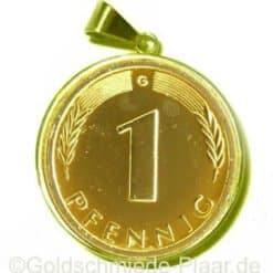 1 Pfennig in Gold 585/- gefasst